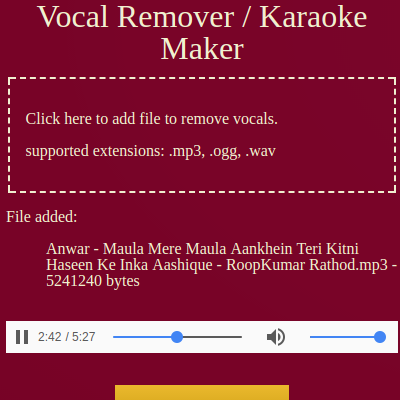 Make Karaoke Online Free Vocals Remover